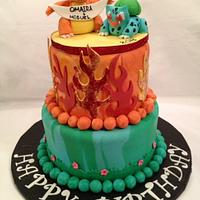 Pokeman, Bulbasaur and Charmander Birthday cake