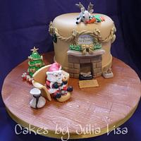 Father Christmas on his break, charity cake