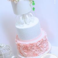 Peach Ruffle Rosette Cake with Edible Swirl Separator
