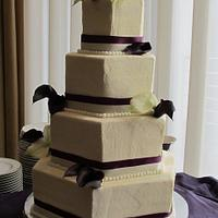 Plum & Cream Cala lilly wedding cake