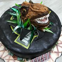 Jurásic park fondant cake