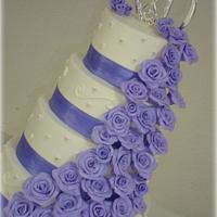 Lavender Rose Wedding Cake