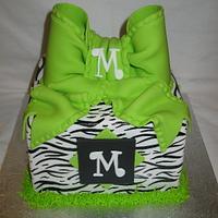 Zebra & Lime Bow