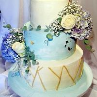 Blue Hortensia Wedding Cake