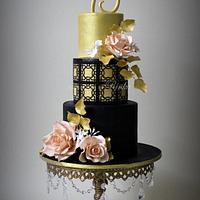 Black & Gold 75th Birthday Cake