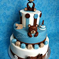 Teddy bears christening cake