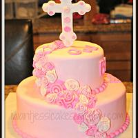 Pink Roses first communion cake by Jessica Chase Avila