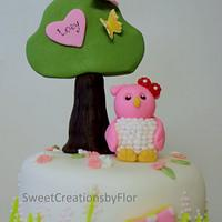 Owl Birthday Cake by SweetCreationsbyFlor