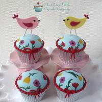 Hand Painted Birdie Cupcakes by Amanda's Little Cake Boutique