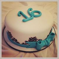 Teal Damask Cake
