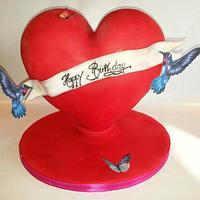 3D  standing heart cake