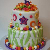 gymnast 13th birthday cake