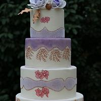 Purple Roses And Gold Accents