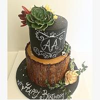 Birthday Cake adorned with Succulents