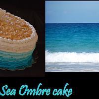 Sea inspired ombre cake