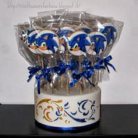 sonic cookies on a stick by Gabriella Luongo