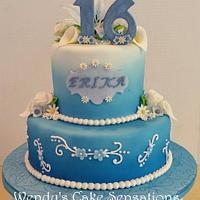 Blue Lily Flower 16th Birthday Cake