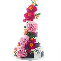 Preppy Monogram Sugar Flower Cake