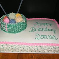 A knitter's birthday cake