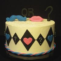Mustache & Lips Baby Reveal Cake