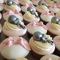 Bow and Rattle Cupcakes