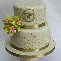 Golden wedding anniversary orchid cake