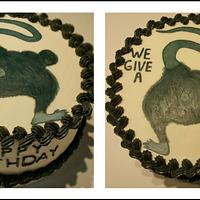 """""""We Give a Rat's ___"""" adult themed bday cake"""