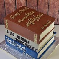 Stacked Books Groom's Cake