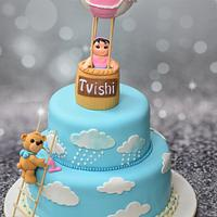 First birthday hot air balloon cake