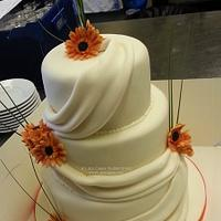 3 Tier Orange Gerberas Wedding Cake