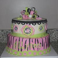 Pink and Green Zebra Print Cake