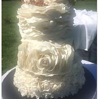 Botanical Ruffles Romantic wedding cake