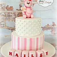 Sweet pink teddy bear cake