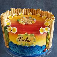 Hawaii Style Birthday Cake