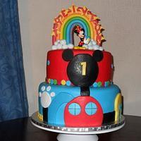 mickey rainbow cake