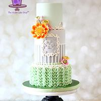 MINT & GREY with Harlequin Mix Dahlia & V-Petal Ruffles
