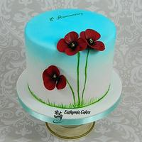 Anniversary Cake with Poppies