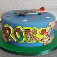 Graffiti & Skateboard Cake