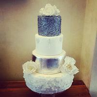 Silver sparkling wedding cake