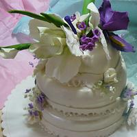 mothers day sugar flowers on 3 teir chocolate cake
