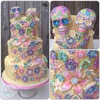 Dia di Los Muertos wedding cake, choccy style