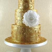 Gold Klimt Cake with Wafer Paper Peony