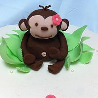 Pink Mod Monkey by SugarMommas Custom Cakes