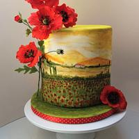 Poppy cake with hand-painted poppy field