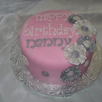 Pink Ruffle Flower Cake
