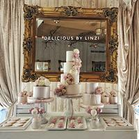 Vintage taupe, blush and nude wedding dessert table