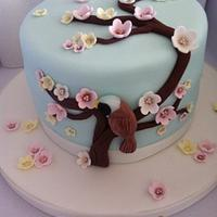 Anglo-Korean Blossom Cake (with bearded tit!)