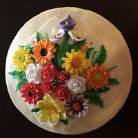 Gerbera and roses cake