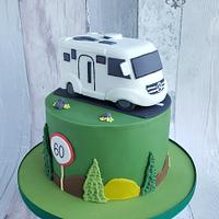 Cake with motor home