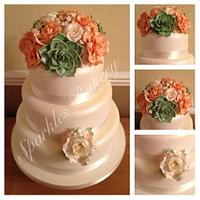 Succulent & Roses Wedding Cake
